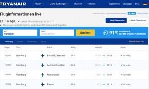 Ryanair Flug verfolgem | Ankunft und Abflug
