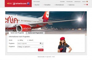 Den Flugstatus mit Abflug und Ankunft prüfen bei Air Berlin